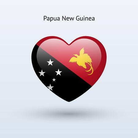 papouasie: Symbole de l'amour Papouasie-Nouvelle-Guin�e. Coeur drapeau ic�ne. Vector illustration.
