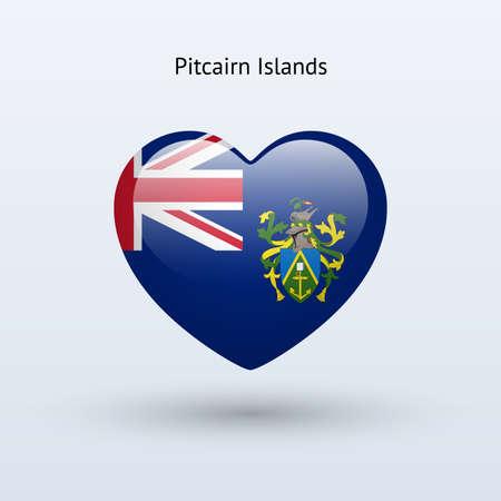 pitcairn: Love Pitcairn Islands symbol. Heart flag icon. Vector illustration.