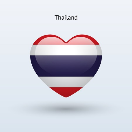 thailand symbol: Love Thailand symbol. Heart flag icon. Vector illustration.