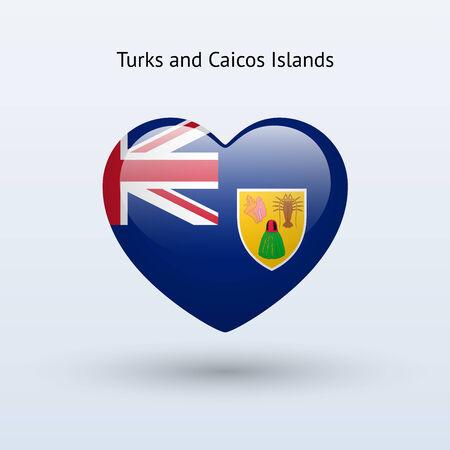 the turks: Love Turks and Caicos Islands symbol. Heart flag icon. Vector illustration.