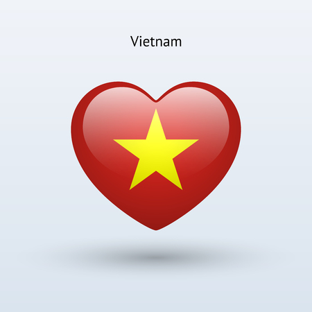 Love Vietnam symbol. Heart flag icon. Vector illustration. Vector