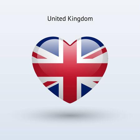 bandera uk: Amor Reino Unido símbolo. Icono de la bandera del corazón. Ilustración del vector. Vectores