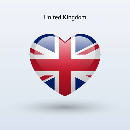 Love United Kingdom symbol. Heart flag icon. Vector illustration. Vector