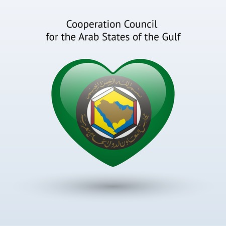 council: Love Arab States of the Gulf symbol. Heart flag icon. Vector illustration.