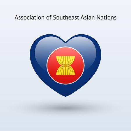 nações: Amor Associação de Nações do Sudeste Asiático símbolo. Ícone da bandeira do coração. Ilustração do vetor.