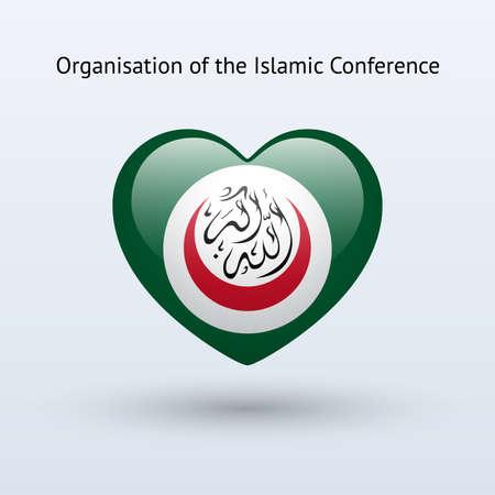 organisation: Love Organisation of Islamic Conference symbol. Heart flag icon. Vector illustration.