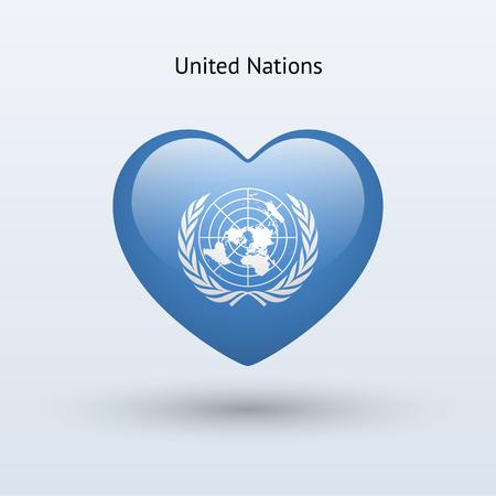 nações: Símbolo do amor das Nações Unidas. Ícone da bandeira do coração. Ilustração do vetor.