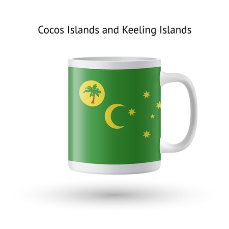 Cocos and Keeling Islands flag souvenir mug isolated on white background. Vector illustration.