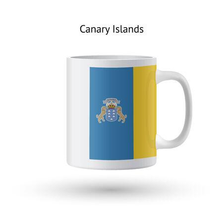 canary islands: Canary Islands flag souvenir mug isolated on white background. Vector illustration.