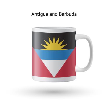 barbuda: Antigua and Barbuda flag souvenir mug isolated on white background. Vector illustration. Illustration