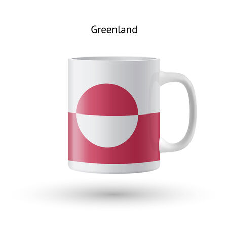 Greenland flag souvenir mug isolated on white background. Vector illustration. Vector