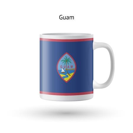 guam: Guam flag souvenir mug isolated on white background. Vector illustration.