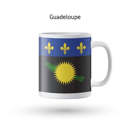 guadeloupe: Guadeloupe flag souvenir mug isolated on white background. Vector illustration.