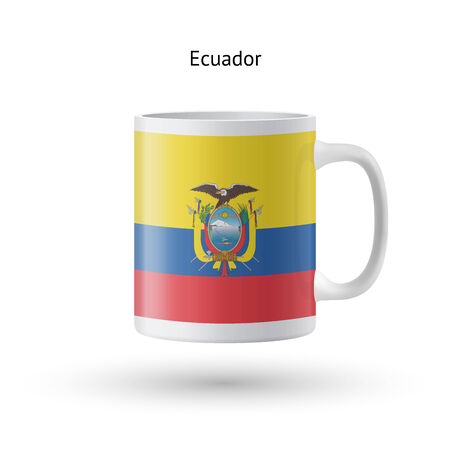 ecuador: Ecuador vlag souvenir mok op een witte achtergrond. Vector illustratie. Stock Illustratie