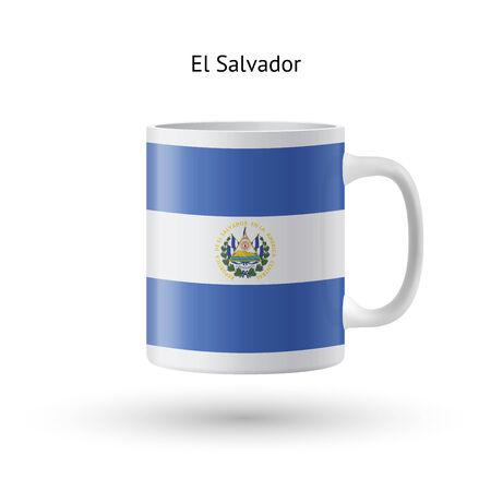 bandera de el salvador: El Salvador Taza de la bandera de recuerdos aislados sobre fondo blanco. Ilustraci�n del vector.