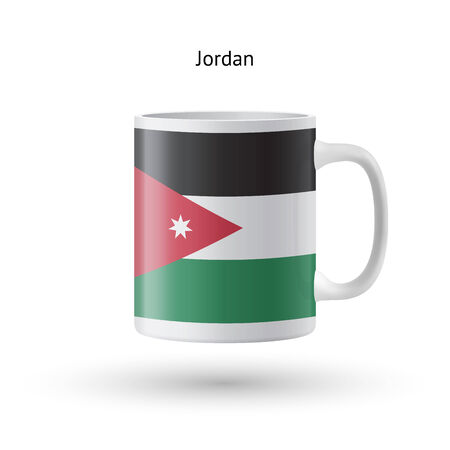Jordan flag souvenir mug isolated on white background. Vector illustration. Vector