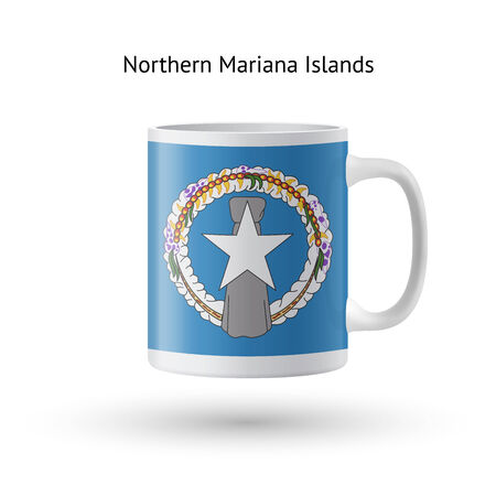 mariana: Northern Mariana Islands flag souvenir mug isolated on white background. Vector illustration.