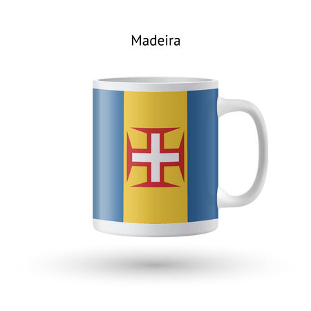 madeira: Madeira flag souvenir mug isolated on white background. Vector illustration. Illustration