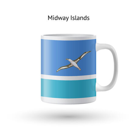 midway: Midway Islands flag souvenir mug isolated on white background. Vector illustration.
