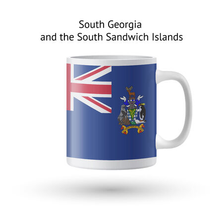 sandwich white background: South Georgia and Sandwich Islands flag souvenir mug isolated on white background. Vector illustration.