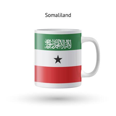 somaliland: Somaliland flag souvenir mug isolated on white background. Vector illustration.