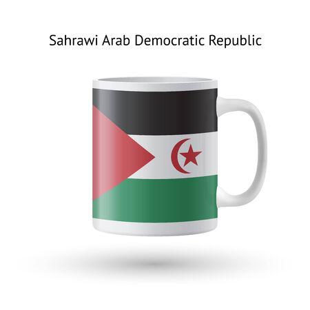 sahrawi arab democratic republic: Sahrawi Arab Democratic Republic flag souvenir mug isolated on white background. Vector illustration. Illustration