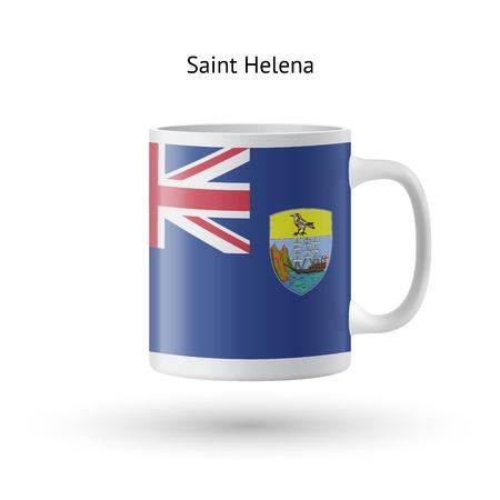 helena: Saint Helena flag souvenir mug isolated on white background. Vector illustration.