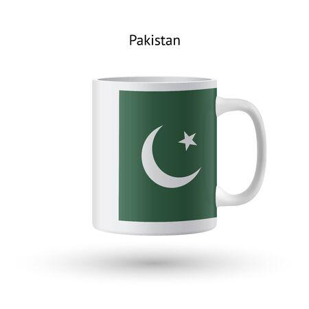 pakistan flag: Pakistan flag souvenir mug isolated on white background. Vector illustration.