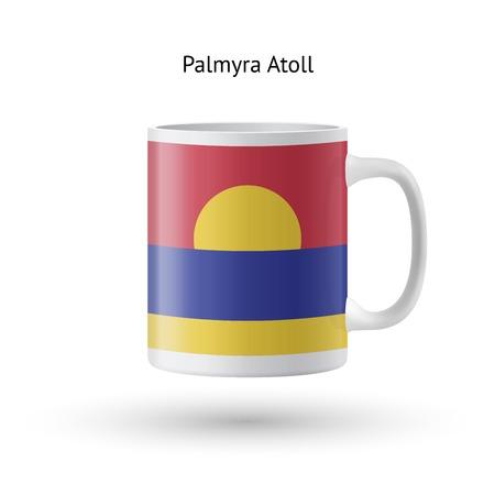 atoll: Palmyra Atoll flag souvenir mug isolated on white background. Vector illustration.