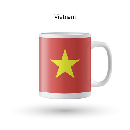 Vietnam flag souvenir mug isolated on white background. Vector illustration. Vector