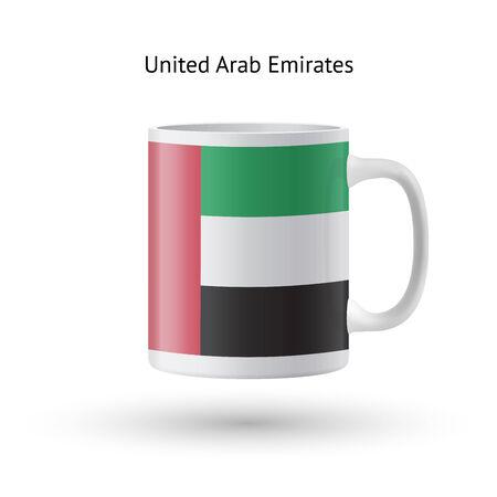 United Arab Emirates flag souvenir mug isolated on white background. Vector illustration. Vector
