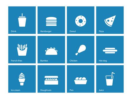 Fast food icons on blue background. Vector illustration. illustration