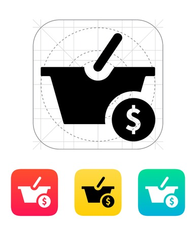 Basket with price icon. Vector illustration. Vector
