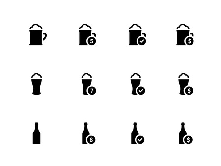 Beer icons on white background. Vector illustration. Vector