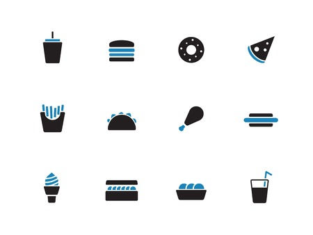 Fast food duotone icons on white background. Vector illustration. Vector