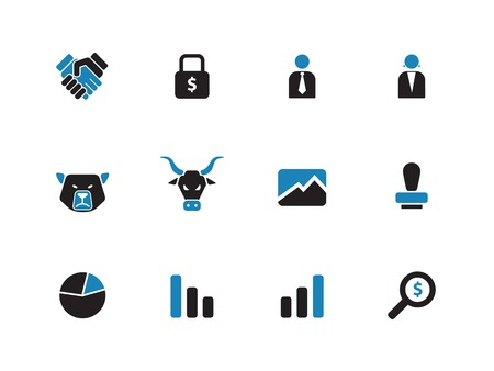 Finance duotone icons on white background. Vector illustration. Illustration