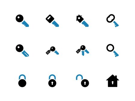 Key duotone icons on white background. Vector illustration. Vector