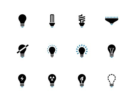 compact fluorescent lightbulb: Light bulb and CFL lamp duotone icons on white background. Vector illustration.
