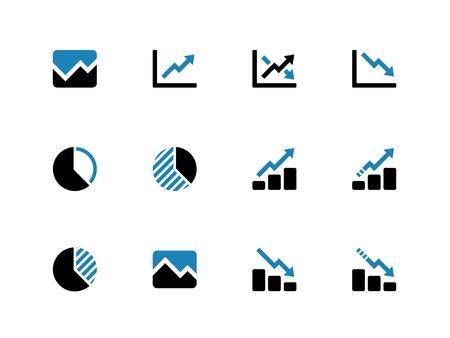 grafica de pastel: Gráfico de líneas y de duotono Diagrama de iconos en el fondo blanco. Ilustración del vector.