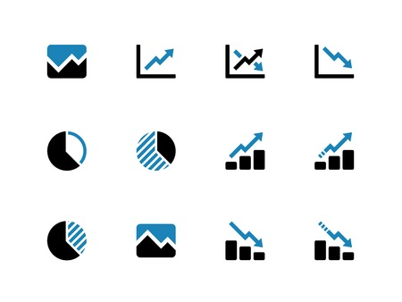 pie chart: Line chart and Diagram duotone icons on white background. Vector illustration.