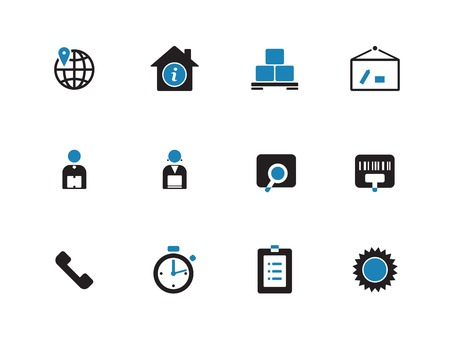 Logistics duotone icons on white background. Vector illustration. Illustration