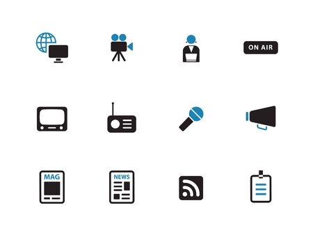 Media duotone icons on white background. Vector illustration.