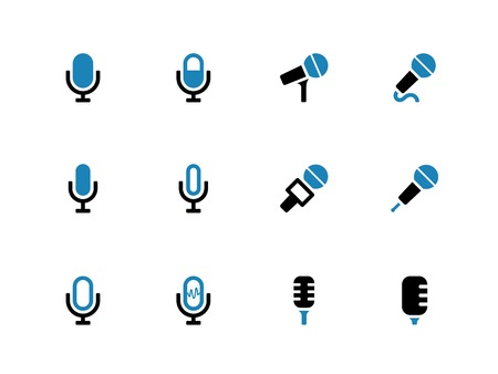 Microphone duotone icons on white background. Vector illustration. Vector