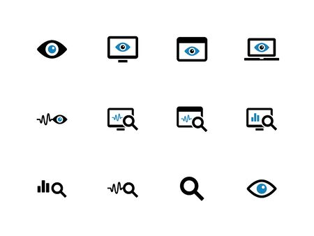 Observation and Monitoring duotone icons on white background. Vector illustration. Illustration