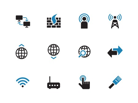 duotone: Networking duotone icons on white background. Vector illustration.