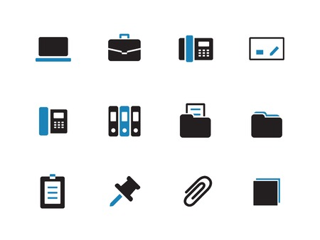 Office duotone icons on white background. Vector illustration. Vector