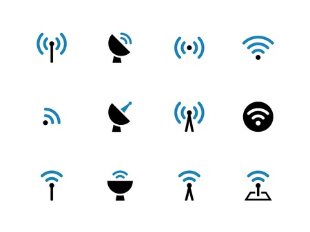 Radio Tower duotone icons on white background. Wireless technology. Vector illustration. Vettoriali