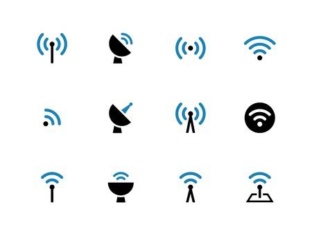 Radio Tower duotone pictogrammen op een witte achtergrond. Draadloze technologie. Vector illustratie.