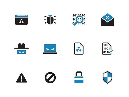 computer hacker: Icone due tonalit� di sicurezza su sfondo bianco. Illustrazione vettoriale. Vettoriali