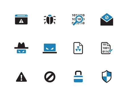 dangerous: Security duotone icons on white background. Vector illustration.